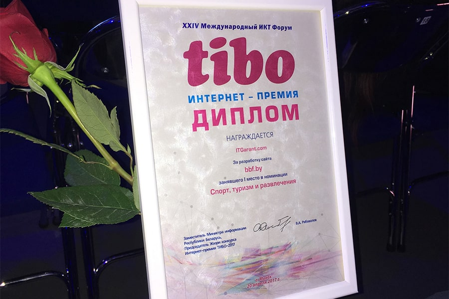 Victory on «TIBO-2016 Internet Award» - Website Bbf.by